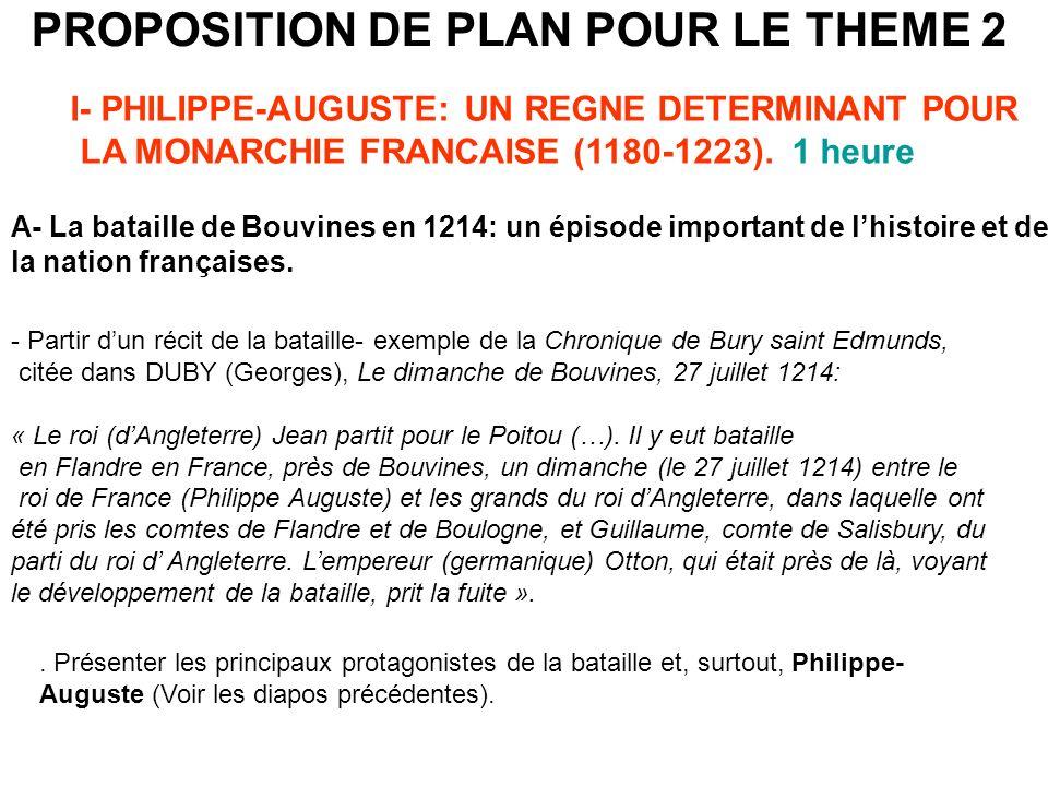 PROPOSITION DE PLAN POUR LE THEME 2 I- PHILIPPE-AUGUSTE: UN REGNE DETERMINANT POUR LA MONARCHIE FRANCAISE (1180-1223). 1 heure A- La bataille de Bouvi