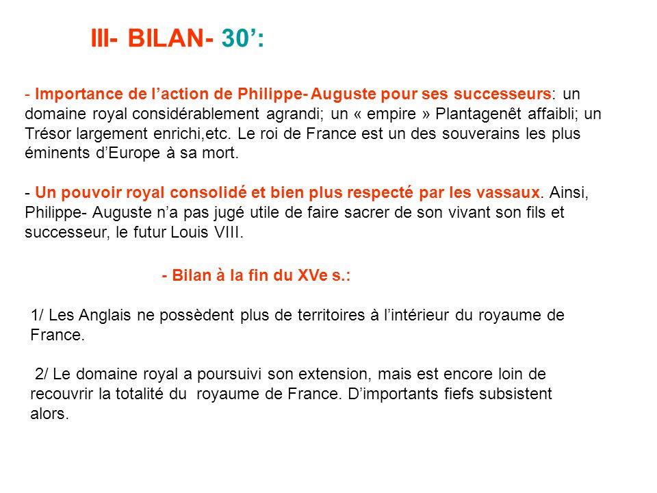 III- BILAN- 30: - Importance de laction de Philippe- Auguste pour ses successeurs: un domaine royal considérablement agrandi; un « empire » Plantagenê