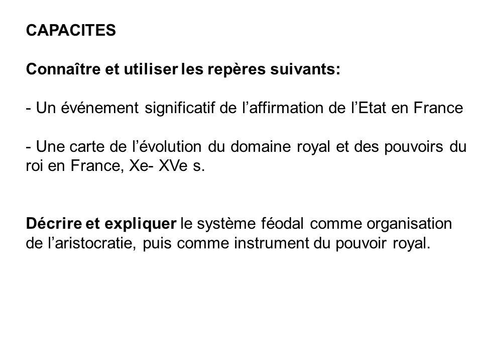 CAPACITES Connaître et utiliser les repères suivants: - Un événement significatif de laffirmation de lEtat en France - Une carte de lévolution du doma