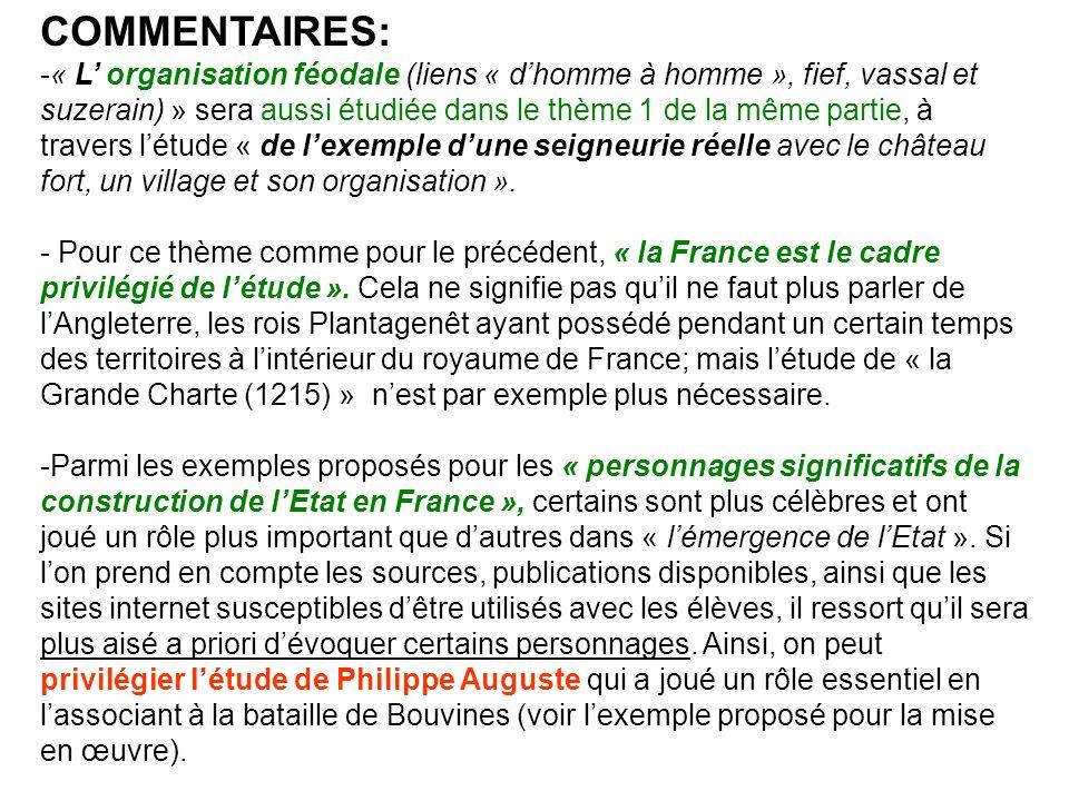 Il est probable que les manuels proposeront des dossiers sur Louis IX- non cité dans la liste dexemples- ainsi que sur Charles VII et Jeanne dArc ou, éventuellement Philippe IV le Bel.