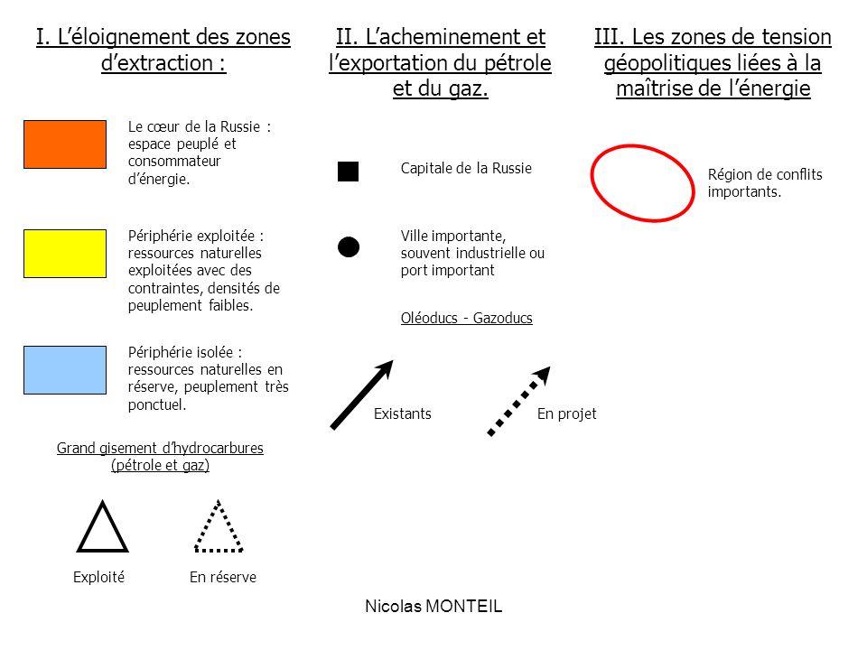 Nicolas MONTEIL I. Léloignement des zones dextraction : II. Lacheminement et lexportation du pétrole et du gaz. III. Les zones de tension géopolitique