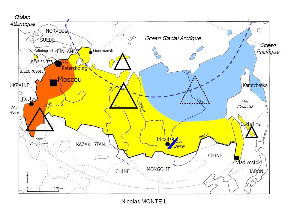 Nicolas MONTEIL Moscou St- Pétersbourg Rostov Vladivostok Irkoutsk SUEDE NORVEGE Kaliningrad KAZAKHSTAN Lac Baïkal Mer Caspienne Océan Glacial Arctiqu