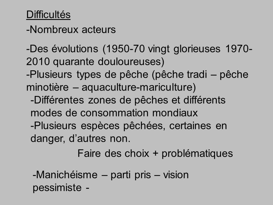 Difficultés -Nombreux acteurs -Des évolutions (1950-70 vingt glorieuses 1970- 2010 quarante douloureuses) -Plusieurs types de pêche (pêche tradi – pêche minotière – aquaculture-mariculture) -Plusieurs espèces pêchées, certaines en danger, dautres non.