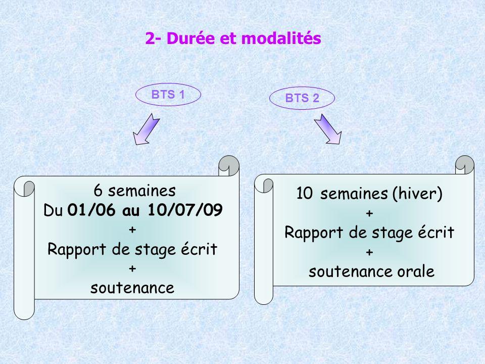 2- Durée et modalités 6 semaines Du 01/06 au 10/07/09 + Rapport de stage écrit + soutenance 10 semaines (hiver) + Rapport de stage écrit + soutenance