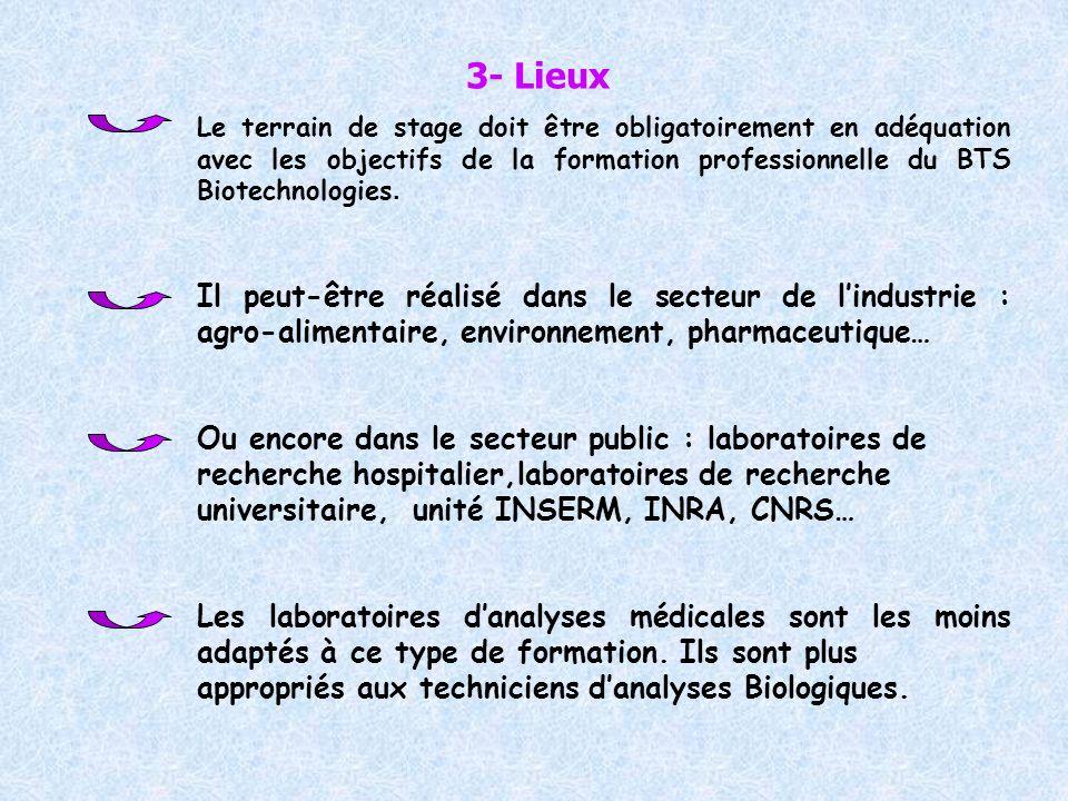 3- Lieux Le terrain de stage doit être obligatoirement en adéquation avec les objectifs de la formation professionnelle du BTS Biotechnologies. Il peu