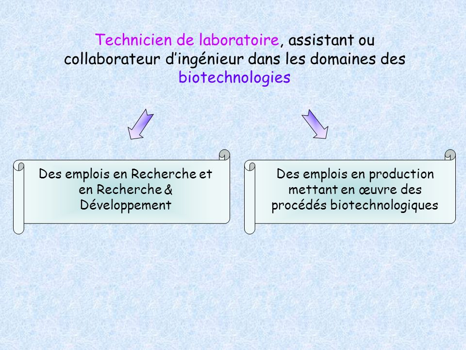 Technicien de laboratoire, assistant ou collaborateur dingénieur dans les domaines des biotechnologies Des emplois en Recherche et en Recherche & Déve