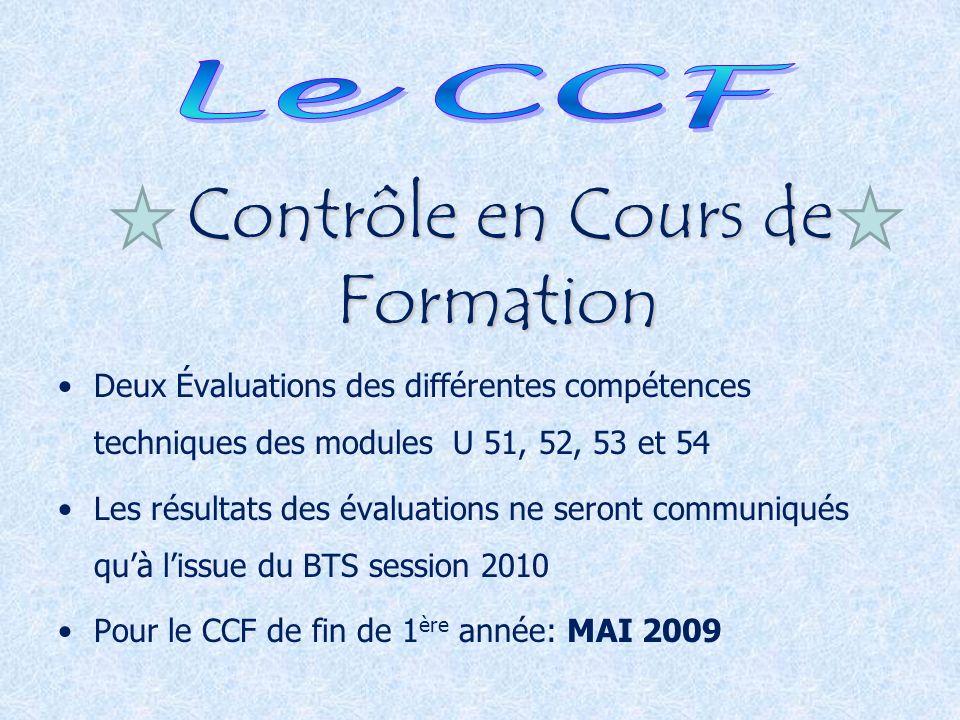 Contrôle en Cours de Formation Deux Évaluations des différentes compétences techniques des modules U 51, 52, 53 et 54 Les résultats des évaluations ne