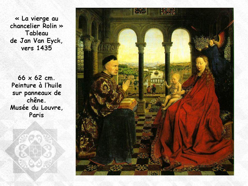 A droite la Vierge et lenfant Jésus couronnée par un ange à gauche, lici-bas et le chancelier Rolin les mains jointes agenouillé sur un prie-Dieu.