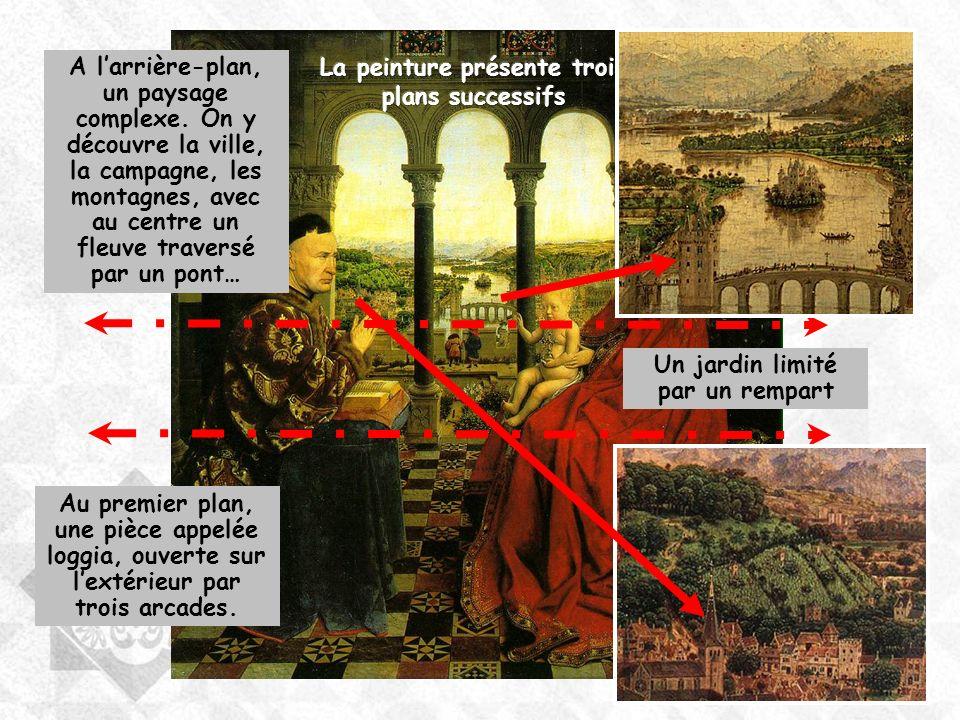 Au premier plan, une pièce appelée loggia, ouverte sur lextérieur par trois arcades. Un jardin limité par un rempart A larrière-plan, un paysage compl