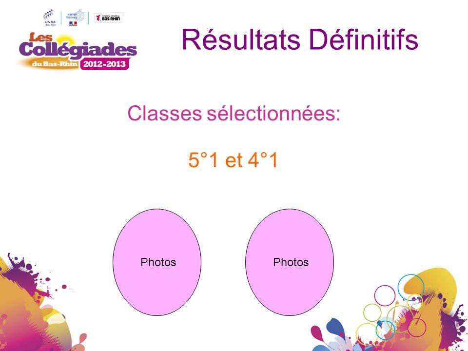 Résultats Définitifs Classes sélectionnées: 5°1 et 4°1 Photos