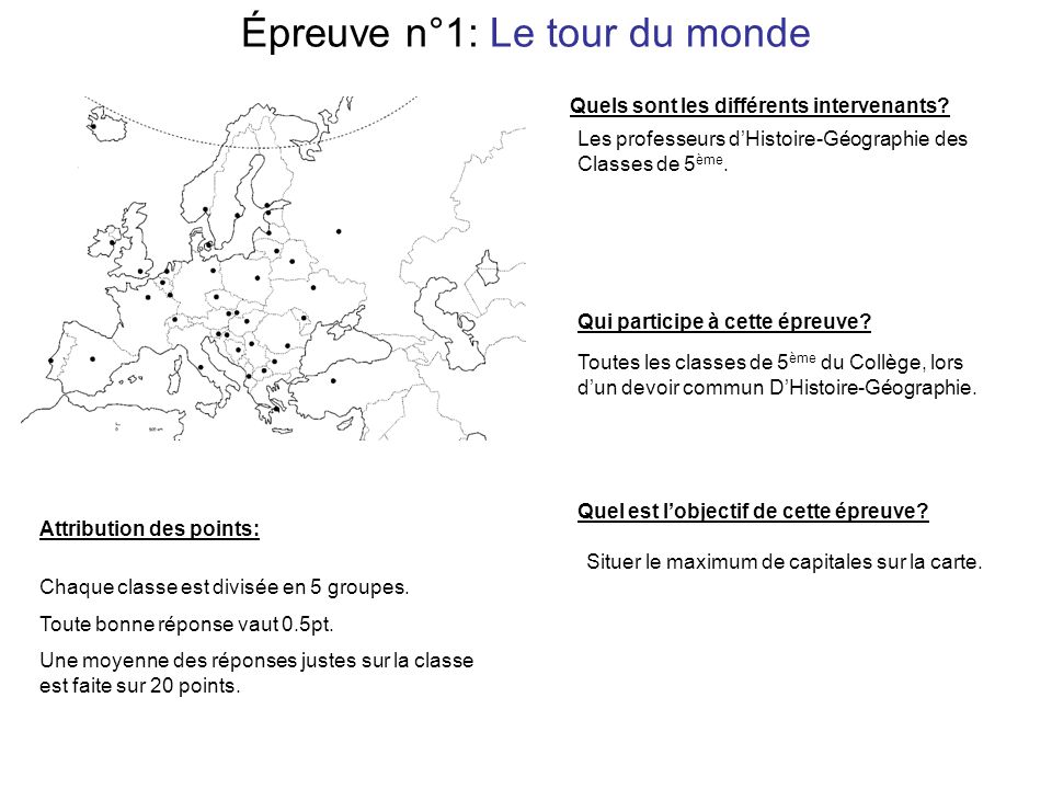 Épreuve n°1: Le tour du monde Situer le maximum de capitales sur la carte.