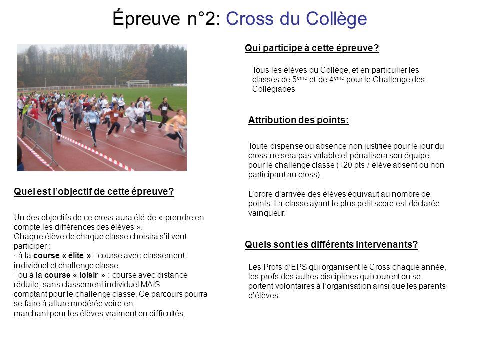 Épreuve n°2: Cross du Collège Les Profs dEPS qui organisent le Cross chaque année, les profs des autres disciplines qui courent ou se portent volontaires à lorganisation ainsi que les parents délèves.
