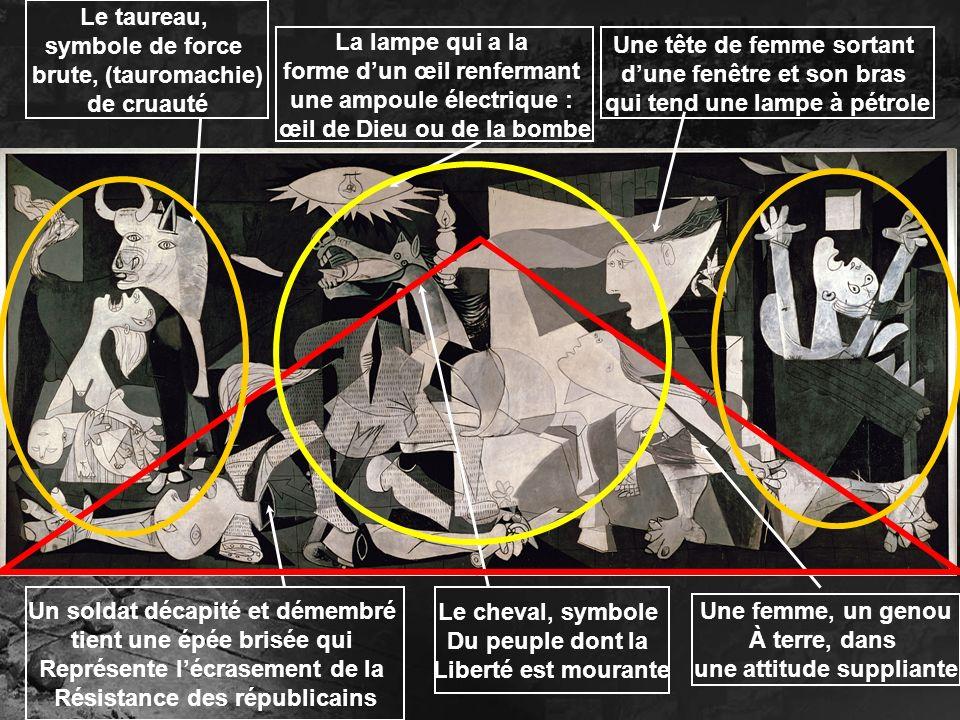 La femme portant son enfant mort, criant de douleur, elle est le symbole de lhorreur des bombardements Une femme, les bras levés, dans une maison en flammes Une allusion à un autre chef dœuvre, le Tres de Mayo de Goya