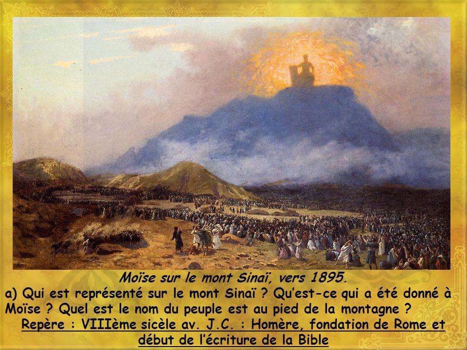 Moïse sur le mont Sinaï, vers 1895.a) Qui est représenté sur le mont Sinaï .