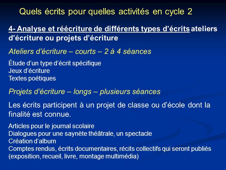 Quels écrits pour quelles activités en cycle 2 4- Analyse et réécriture de différents types décrits ateliers décriture ou projets décriture Ateliers d