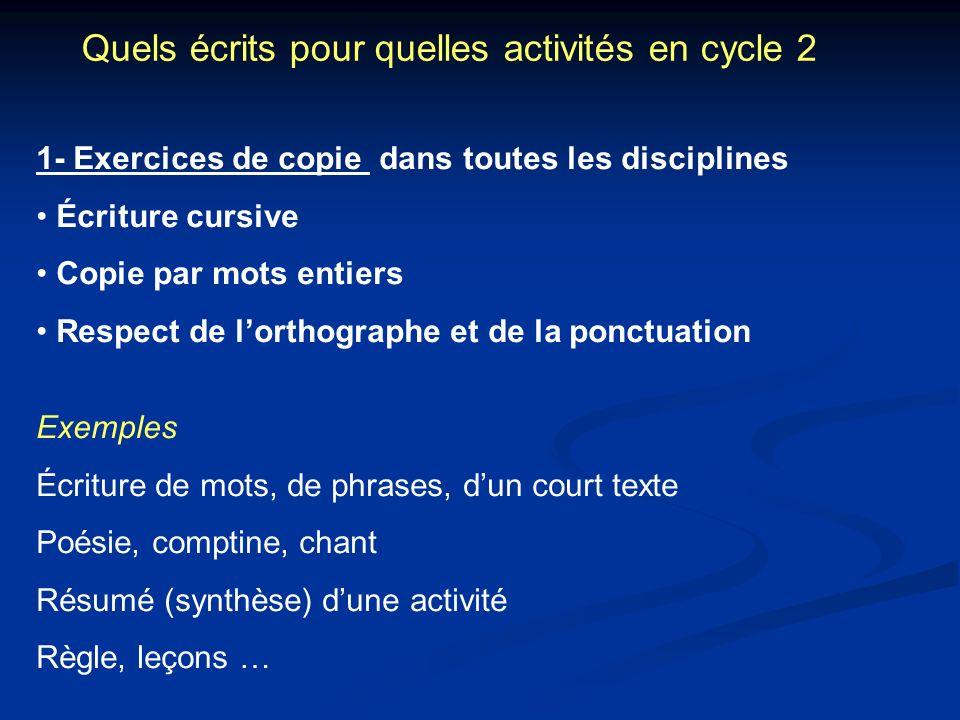 Quels écrits pour quelles activités en cycle 2 1- Exercices de copie dans toutes les disciplines Écriture cursive Copie par mots entiers Respect de lo