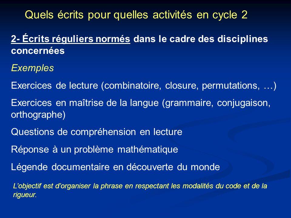 Quels écrits pour quelles activités en cycle 2 2- Écrits réguliers normés dans le cadre des disciplines concernées Exemples Exercices de lecture (comb