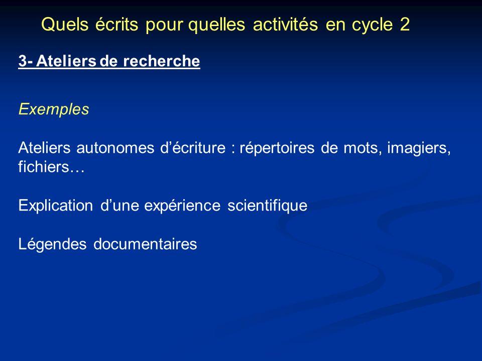 Quels écrits pour quelles activités en cycle 2 3- Ateliers de recherche Exemples Ateliers autonomes décriture : répertoires de mots, imagiers, fichier