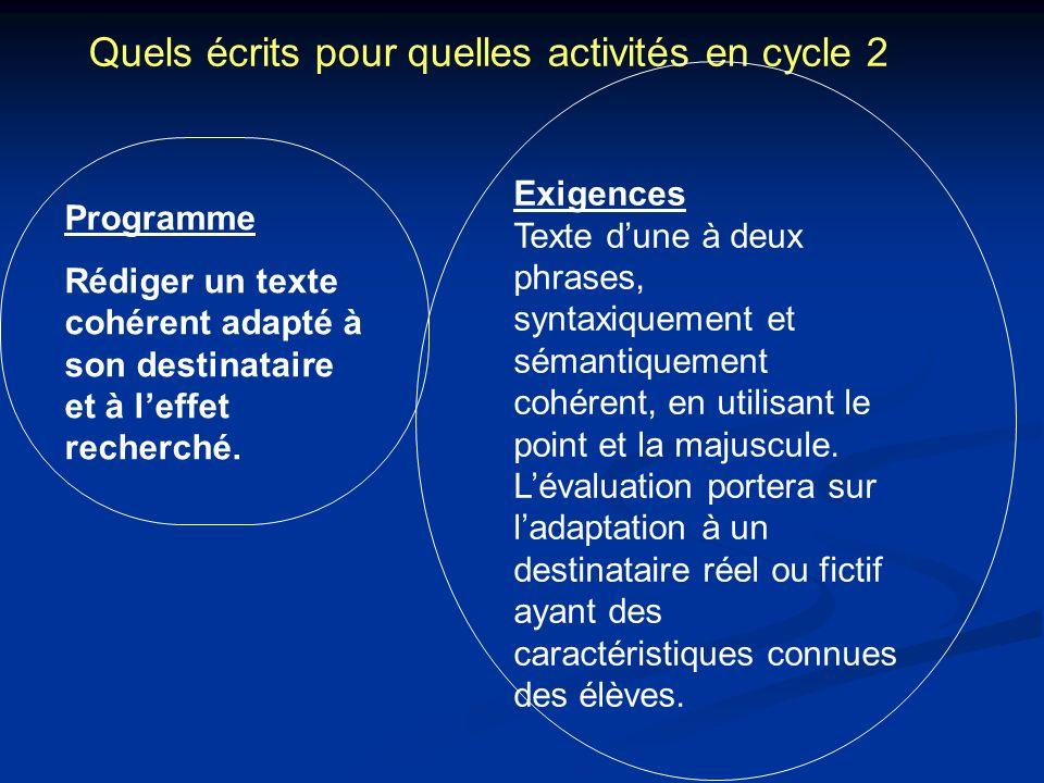Quels écrits pour quelles activités en cycle 2 Exigences Texte dune à deux phrases, syntaxiquement et sémantiquement cohérent, en utilisant le point e
