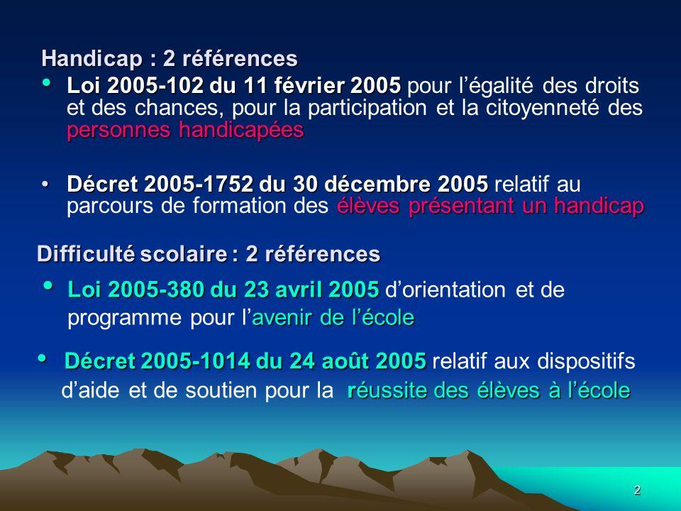 2 Handicap : 2 références Loi 2005-102 du 11 février 2005 personnes handicapéesLoi 2005-102 du 11 février 2005 pour légalité des droits et des chances