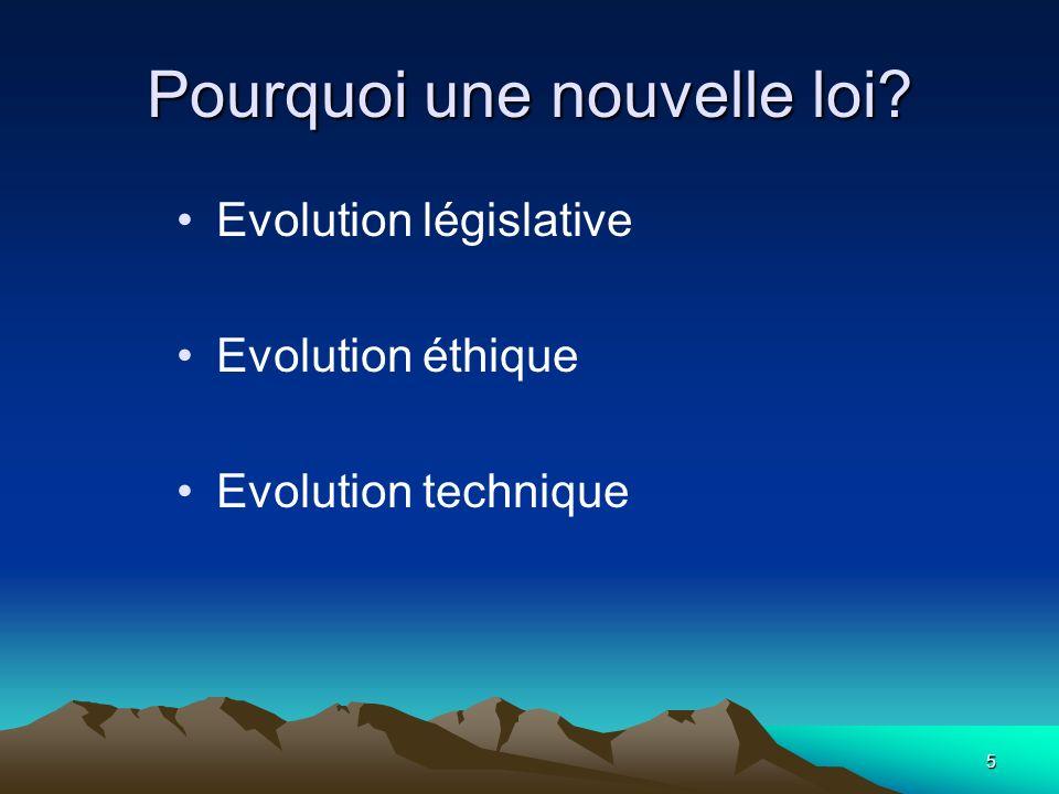 5 Pourquoi une nouvelle loi? Evolution législative Evolution éthique Evolution technique