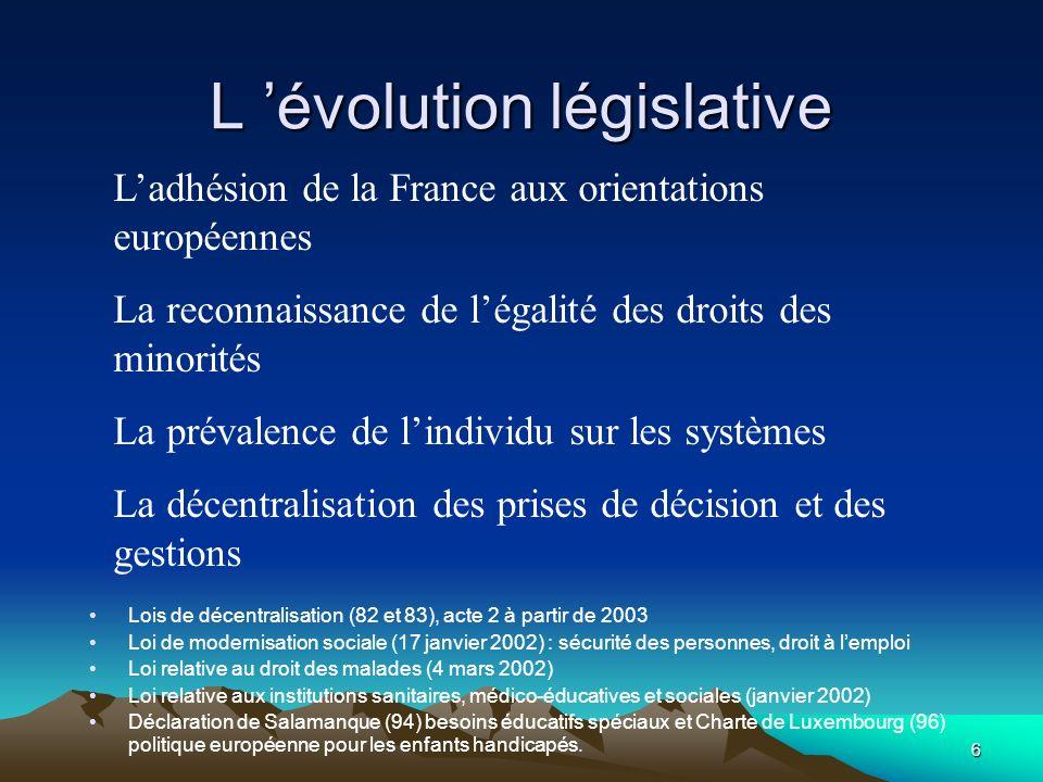 6 L évolution législative Lois de décentralisation (82 et 83), acte 2 à partir de 2003 Loi de modernisation sociale (17 janvier 2002) : sécurité des p