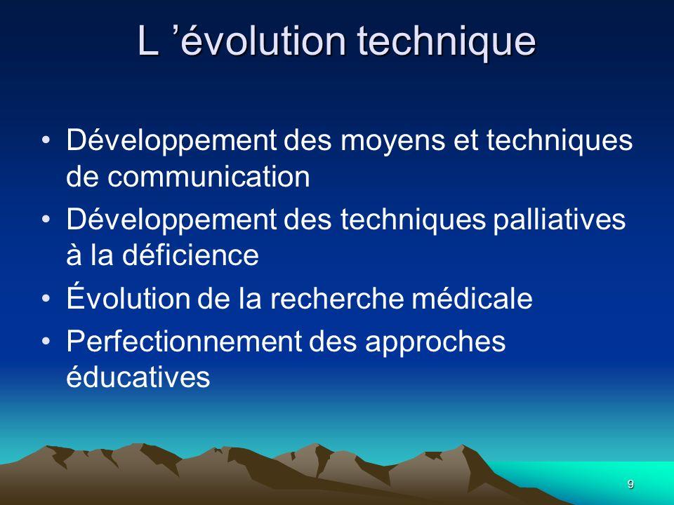 9 L évolution technique Développement des moyens et techniques de communication Développement des techniques palliatives à la déficience Évolution de