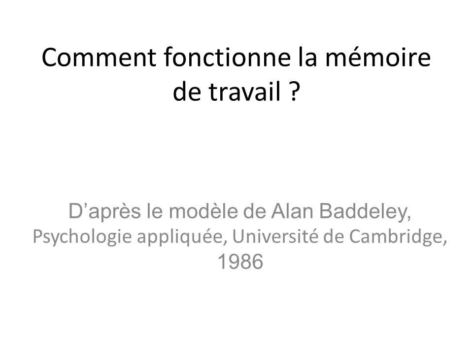 Comment fonctionne la mémoire de travail ? Daprès le modèle de Alan Baddeley, Psychologie appliquée, Université de Cambridge, 1986