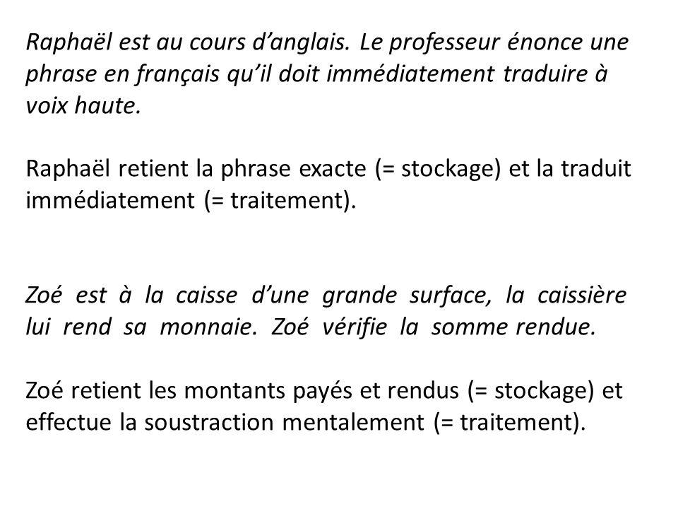 Raphaël est au cours danglais. Le professeur énonce une phrase en français quil doit immédiatement traduire à voix haute. Raphaël retient la phrase ex
