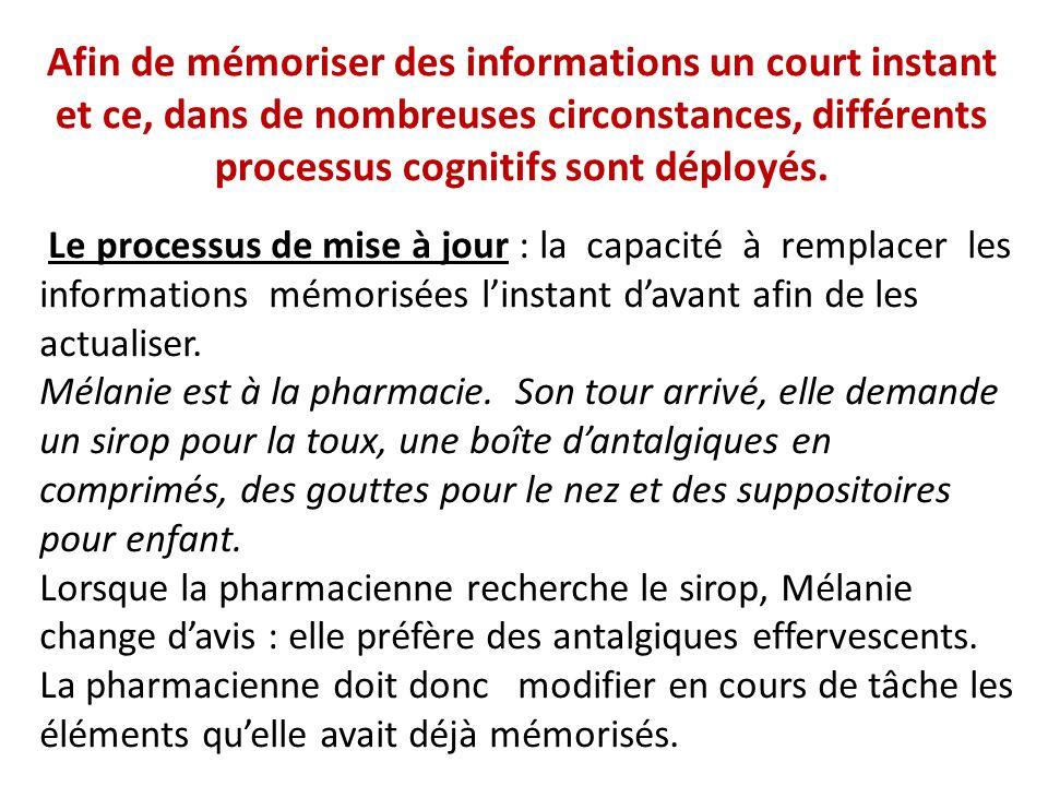 Afin de mémoriser des informations un court instant et ce, dans de nombreuses circonstances, différents processus cognitifs sont déployés. Le processu