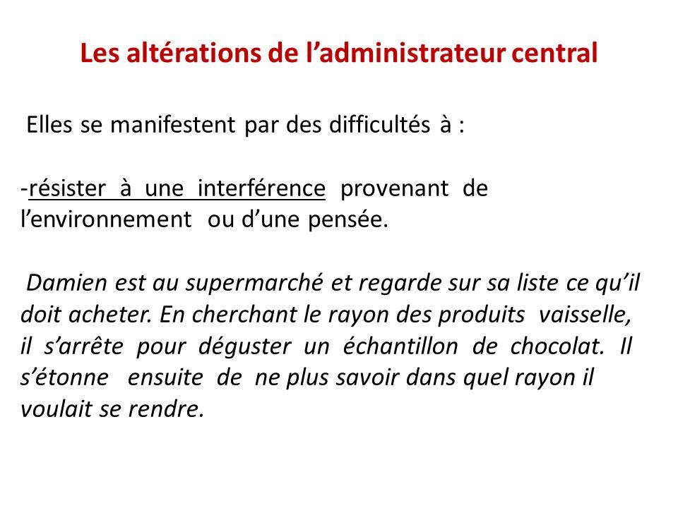 Les altérations de ladministrateur central Elles se manifestent par des difficultés à : -résister à une interférence provenant de lenvironnement ou du