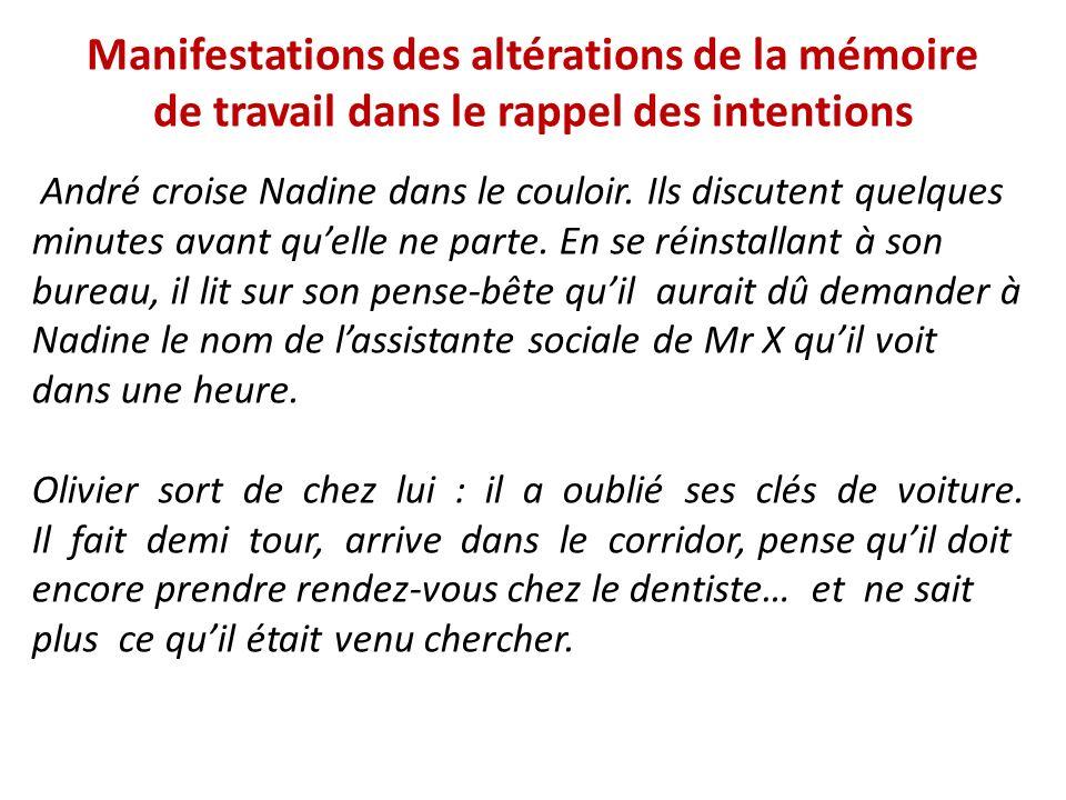 Manifestations des altérations de la mémoire de travail dans le rappel des intentions André croise Nadine dans le couloir. Ils discutent quelques minu