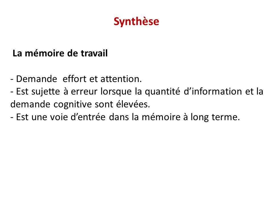 Synthèse La mémoire de travail - Demande effort et attention. - Est sujette à erreur lorsque la quantité dinformation et la demande cognitive sont éle