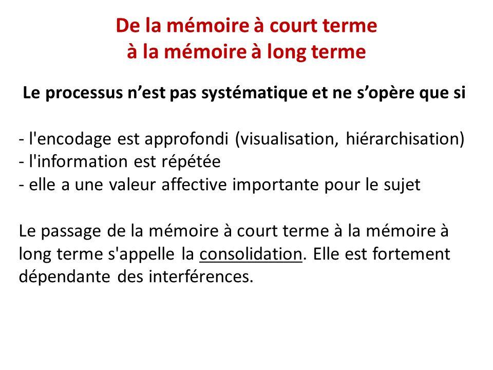De la mémoire à court terme à la mémoire à long terme Le processus nest pas systématique et ne sopère que si - l'encodage est approfondi (visualisatio