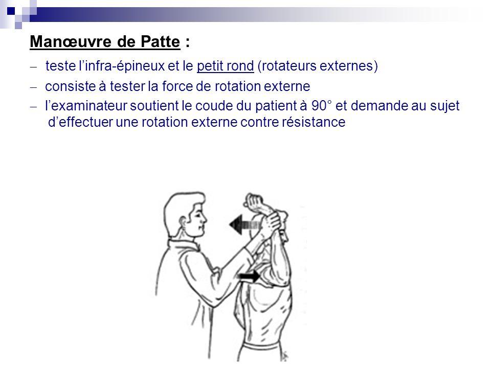 Manœuvre de Jobe (la plus importante) Les bras sont à 90° dabduction, les pouces vers le bas lexaminateur tente de baisser le bras du patient contre r