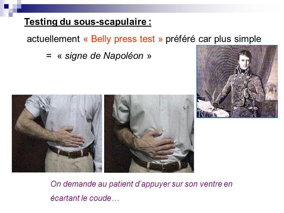 Manœuvre de Gerber ou « lift-off test » le patient met sa main dans le dos lexaminateur décolle la main et il demande au patient de tenir la position.