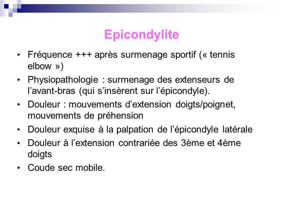 Une pathologie tendineuse : l épicondylite Une douleur progressive face dorsale de l AVB de + en + chronique Une impotence la raquette serrer la main