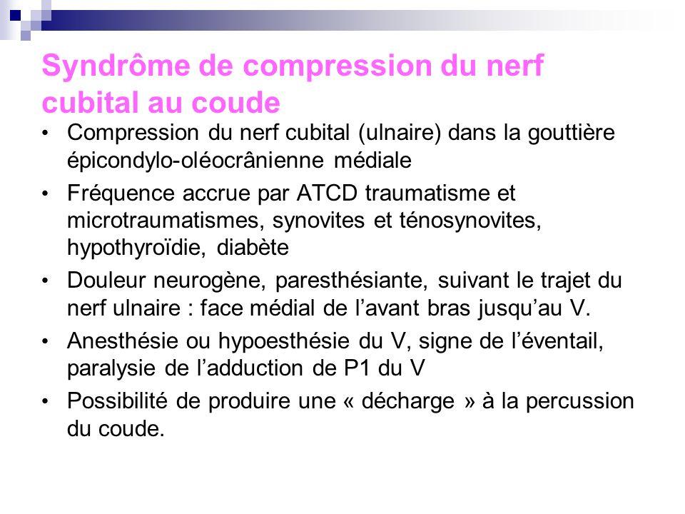 Autres pathologies fréquentes du coude Epitrochléite Golfeur Douleur exquise de lépitrochlée, coude sec et normal Bursite olécrânienne Tuméfaction sen