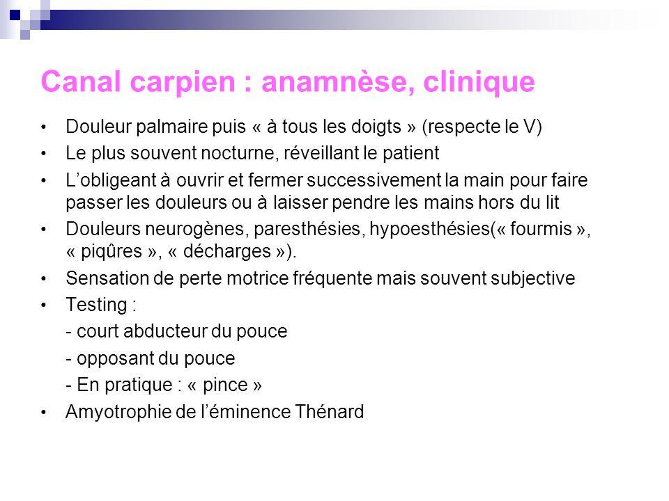 Syndrome du canal carpien Fréquent, sous-estimé Facteurs favorisants : femme (4/1), âge, microtraumatismes et séquelles de traumatismes, diabète, hypo