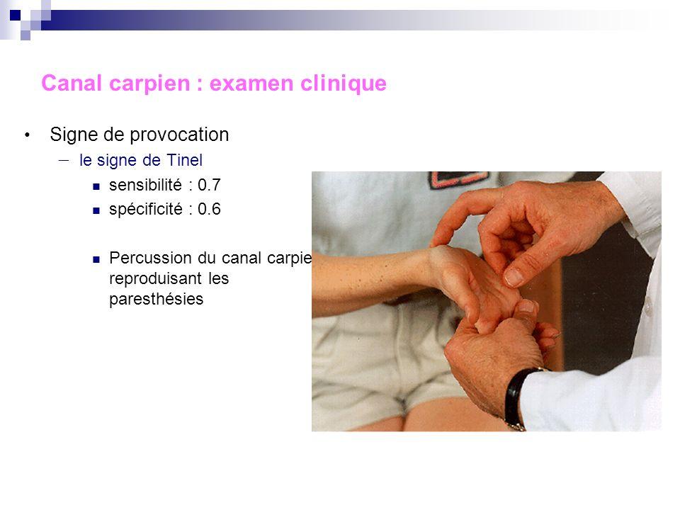 Canal carpien : anamnèse, clinique Douleur palmaire puis « à tous les doigts » (respecte le V) Le plus souvent nocturne, réveillant le patient Loblige