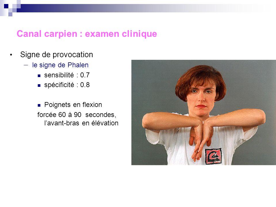 Canal carpien : examen clinique Signe de provocation le signe de Tinel sensibilité : 0.7 spécificité : 0.6 Percussion du canal carpien reproduisant le