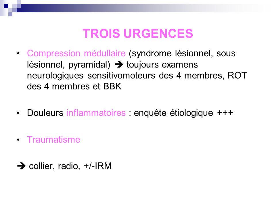 Rachis cervical Interrogatoire : facteurs déclenchants, red flags, douleur mécanique ou inflammatoire… Irradiation Symptomatologie neurologique Douleu