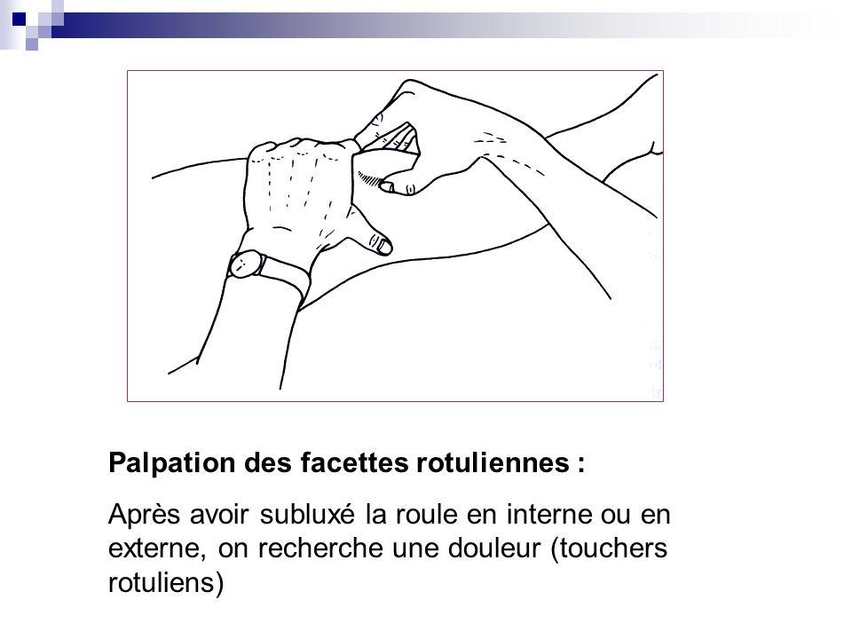 5. Recherche dun syndrome fémoro- patellaire (syndrome rotulien) Interrogatoire : Douleur antérieure, diffuse, souvent bilatérale : augmentée par mont