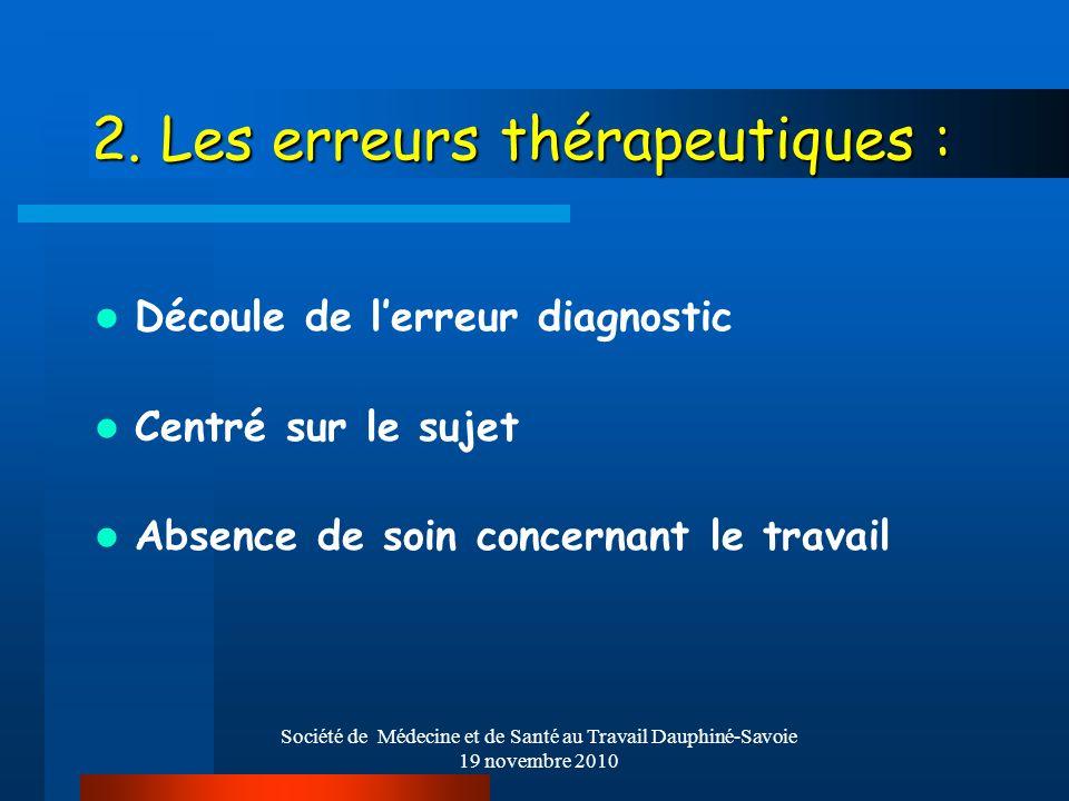 Société de Médecine et de Santé au Travail Dauphiné-Savoie 19 novembre 2010 2. Les erreurs thérapeutiques : Découle de lerreur diagnostic Centré sur l