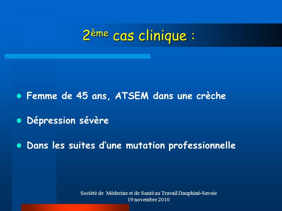 Société de Médecine et de Santé au Travail Dauphiné-Savoie 19 novembre 2010 2 ème cas clinique : 2 ème cas clinique : Femme de 45 ans, ATSEM dans une