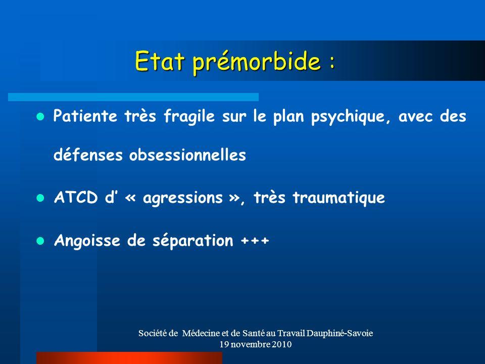 Société de Médecine et de Santé au Travail Dauphiné-Savoie 19 novembre 2010 Etat prémorbide : Patiente très fragile sur le plan psychique, avec des dé
