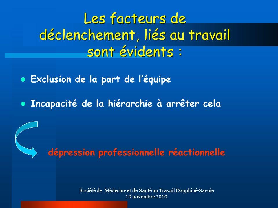 Société de Médecine et de Santé au Travail Dauphiné-Savoie 19 novembre 2010 Les facteurs de déclenchement, liés au travail sont évidents : Exclusion d