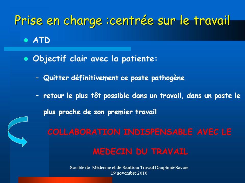 Société de Médecine et de Santé au Travail Dauphiné-Savoie 19 novembre 2010 Prise en charge :centrée sur le travail ATD Objectif clair avec la patient