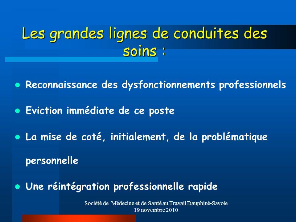 Société de Médecine et de Santé au Travail Dauphiné-Savoie 19 novembre 2010 Les grandes lignes de conduites des soins : Reconnaissance des dysfonction