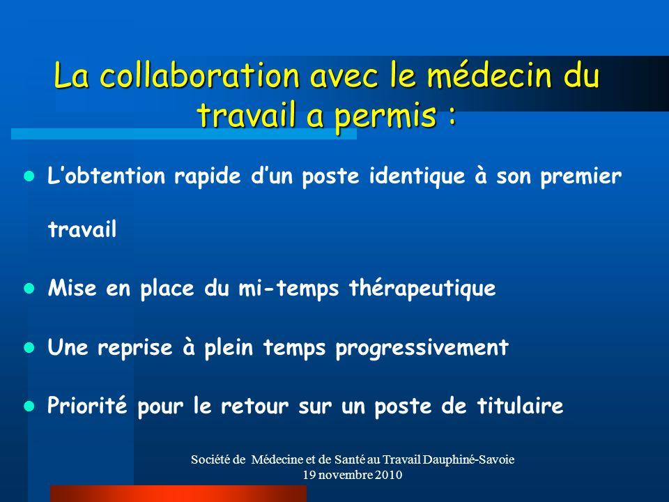 Société de Médecine et de Santé au Travail Dauphiné-Savoie 19 novembre 2010 La collaboration avec le médecin du travail a permis : Lobtention rapide d